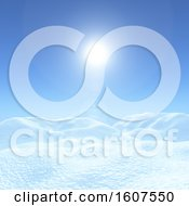 Clipart Of A 3D Render Of A Christmas Background With Snowy Landscape Against A Blue Sunny Sky Royalty Free Illustration