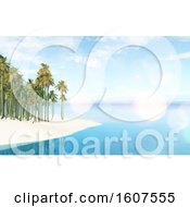 Clipart Of A 3D Render Of A Tropical Landscape With Palm Tree Island Royalty Free Illustration