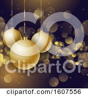 3d Christmas Background With Golden Suspended Ornaments And Bokeh Flares