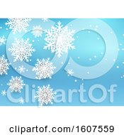 Clipart Of A Blue Winter Snowflake Background Royalty Free Vector Illustration