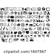 Clipart Of Black And White Computer And Website Icons Royalty Free Vector Illustration