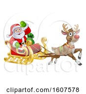 Clipart Of A Christmas Santa Claus In A Flying Magic Sleigh With A Red Nosed Reindeer Royalty Free Vector Illustration by AtStockIllustration