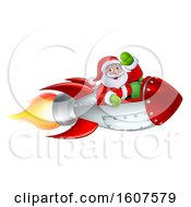 Clipart Of A Shooting Rocket With Santa Waving Royalty Free Vector Illustration by AtStockIllustration