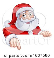 Cartoon Christmas Santa Claus Face Pointing Over A Sign