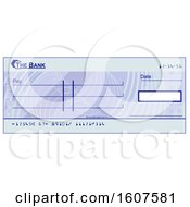 Clipart Of A Blank Blue Bank Check Royalty Free Vector Illustration