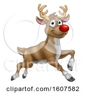 Clipart Of A Leaping Red Nosed Reindeer Royalty Free Vector Illustration