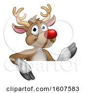Red Nosed Christmas Reindeer Over A Sign