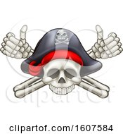 Clipart Of A Pirate Skull And Cross Bones Jolly Roger With Thumbs Up Royalty Free Vector Illustration