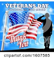 Clipart Of A Black Silhouetted Saluting Soldier With An American Flag And Sky With Text Royalty Free Vector Illustration by AtStockIllustration