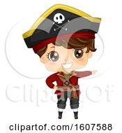 Pirate Kid Boy Costume Point Right Illustration