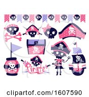 Female Pirate Party Themed Design Elements Clipart