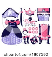 Poster, Art Print Of Female Pirate Party Themed Design Elements Clipart