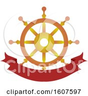 Pirate Party Themed Ship Helm And Banner Clipart
