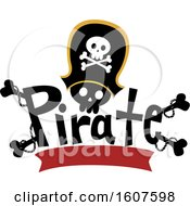 Pirate Party Themed Captain Skull With Bones And A Banner Clipart