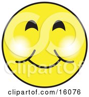 Yellow Smiley Face Graphic With A Closed Lip Smile Clipart Illustration