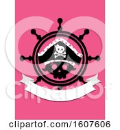Female Pirate Party Themed Helm And Banner Clipart