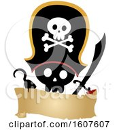 Pirate Party Themed Skull With A Hook And Sword Clipart