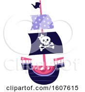Female Pirate Party Themed Skull And Ship Clipart