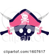 Female Pirate Party Themed Skull And Sword Clipart