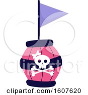 Female Pirate Party Themed Skull Barrel And Flag Clipart