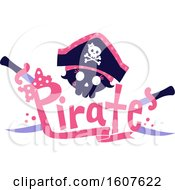 Female Pirate Party Themed Skull With Swrods Clipart