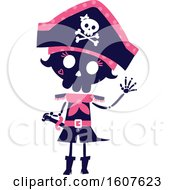 Female Pirate Party Themed Skeleton Clipart