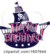 Female Pirate Party Themed Ship Clipart