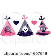 Female Pirate Themed Party Hats Clipart