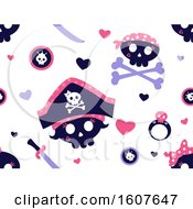 Female Pirate Party Themed Background Pattern Clipart