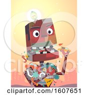 Robot Mascot Eat Junk Illustration