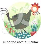 Poster, Art Print Of Junk Art Garden Design Illustration