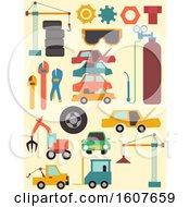 Poster, Art Print Of Junk Yard Elements Illustration