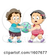 Kids Toddlers Fighting Over Toy Illustration