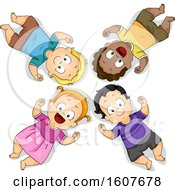 Poster, Art Print Of Kids Toddlers Lay Floor Illustration