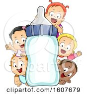 Poster, Art Print Of Kids Toddlers Milk Bottle Board Illustration