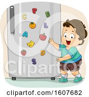 Kid Toddler Boy Fridge Magnet Illustration