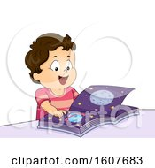 Poster, Art Print Of Kid Toddler Boy Happy Space Book Illustration