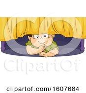 Kid Toddler Boy Hiding Under Bed Illustration