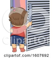 Kid Toddler Girl Open Fridge Illustration