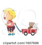 Kid Toddler Boy Pull Wagon Toys Illustration