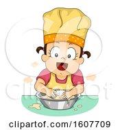 Kid Toddler Girl Knead Dough Illustration