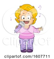 Kid Toddler Girl Sing Microphone Illustration by BNP Design Studio