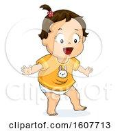 Kid Toddler Girl Try To Walk Illustration