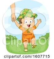 Kid Toddler Girl Walk Outdoors Illustration
