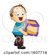 Kid Toddler Boy Carry Toy Block Illustration