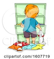 Kid Toddler Boy Look Outfit Drawer Illustration