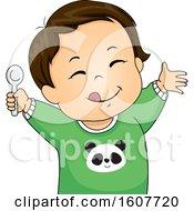 Kid Toddler Boy Meal Yum Illustration