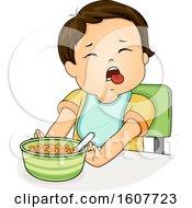 Kid Toddler Boy Push Food Illustration