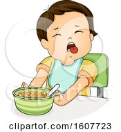 Kid Toddler Boy Push Food Illustration