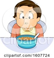 Kid Toddler Boy Refuse Eat Cereal Illustration